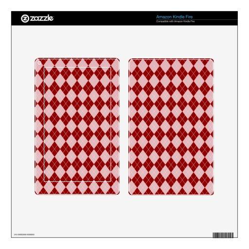 Modelo de Argyle en rojo Skin Para Kindle Fire
