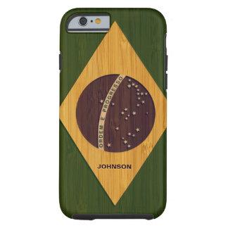 Modelo de bambú y bandera grabada del Brasil del Funda Para iPhone 6 Tough