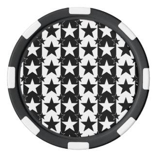 Modelo de barras y estrellas 2 blanco y negro fichas de póquer