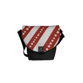 Modelo de barras y estrellas rojo y blanco patriót bolsas de mensajeria