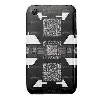 Modelo de Blk&Wht de la cebra del leopardo iPhone 3 Case-Mate Protector