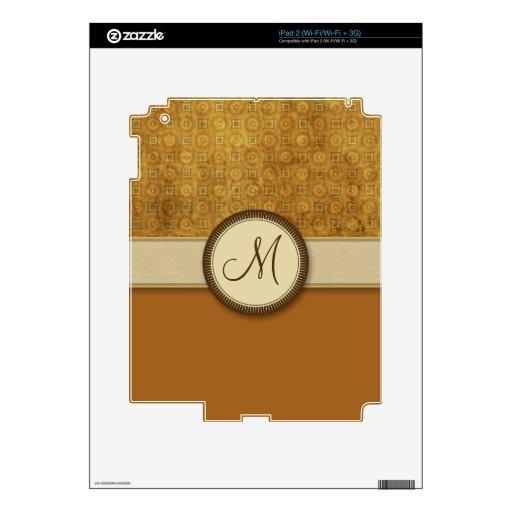 Modelo de bronce de la moneda con el monograma skins para iPad 2