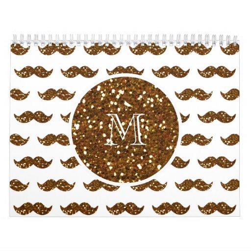 Modelo de bronce del bigote del brillo su monogram calendarios
