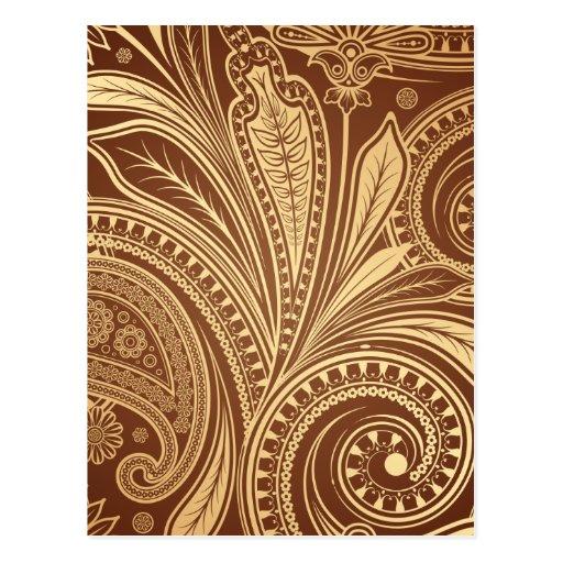 Modelo de Brown y del oro con Paisley Postal