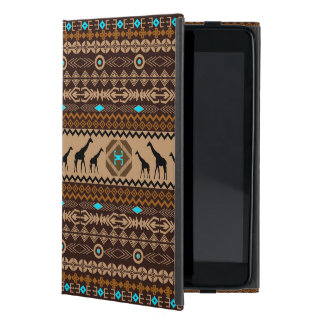 Modelo de Brown y jirafa africanos azules y beige iPad Mini Cárcasas