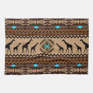 Modelo de Brown y jirafa africanos azules y beige Toallas De Cocina