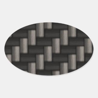 Modelo de Carbonfiber a cuadros Pegatina Óval Personalizadas