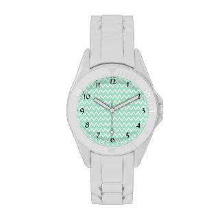 Modelo de Chevron de la verde menta y del blanco Relojes