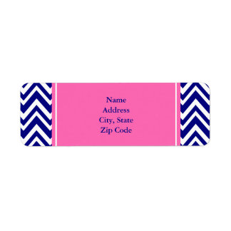 Modelo de Chevron de los azules marinos con rosas  Etiqueta De Remite