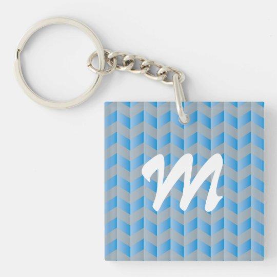 Modelo de Chevron del gris azul del monograma de Llavero Cuadrado Acrílico A Doble Cara