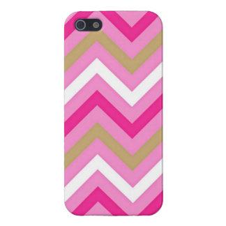 Modelo de Chevron del rosa del caramelo de algodón iPhone 5 Protectores