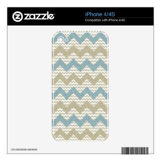 Modelo de Chevron en la textura de lino iPhone 4 Skin