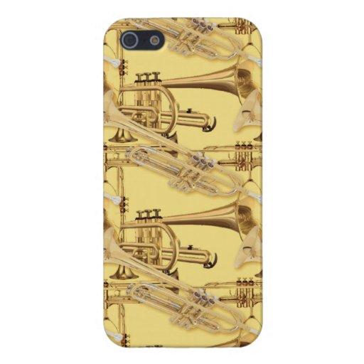 Modelo de cobre amarillo de la trompeta iPhone 5 cobertura