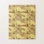 Modelo de cobre amarillo de la trompeta puzzle