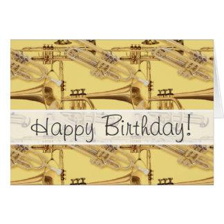 Modelo de cobre amarillo de la trompeta tarjeta de felicitación