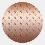 Modelo de cobre del búho pegatina redonda