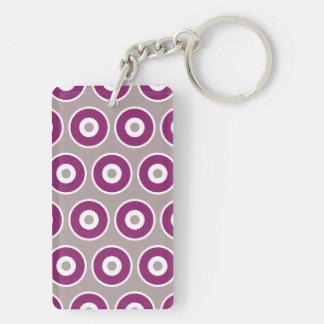 Modelo de color de malva púrpura bonito de los llavero rectangular acrílico a doble cara