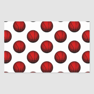 Modelo de color rojo oscuro del baloncesto pegatina rectangular