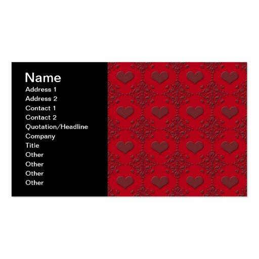 Modelo de color rojo oscuro del damasco de los tarjetas de visita