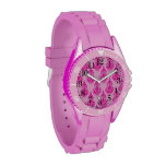 Modelo de color rosa oscuro de Paisley Relojes De Pulsera