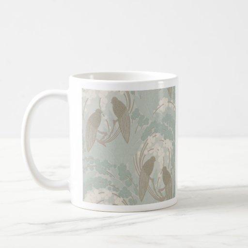Modelo de color topo y azul del jardín del paraíso taza de café