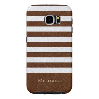 Modelo de cuero de la raya de Brown de la mirada Fundas Samsung Galaxy S6