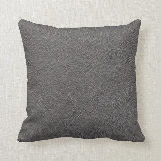 Modelo de cuero gris de la textura de la impresión cojin