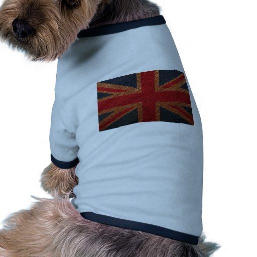 Modelo de cuero Union Jack Británicos (Reino Unido Camiseta Con Mangas Para Perro