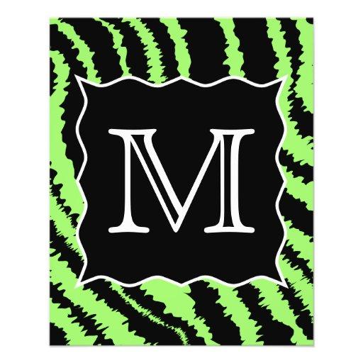 Modelo de encargo de la cebra de la verde lima y d tarjetas informativas