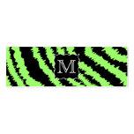 Modelo de encargo de la cebra de la verde lima y tarjetas de visita mini