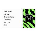 Modelo de encargo de la cebra de la verde lima y tarjetas de visita