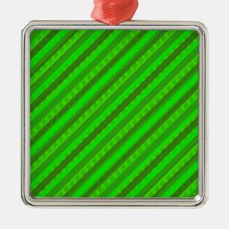 Modelo de encargo verde de Stiped Decoritive del Adorno Navideño Cuadrado De Metal