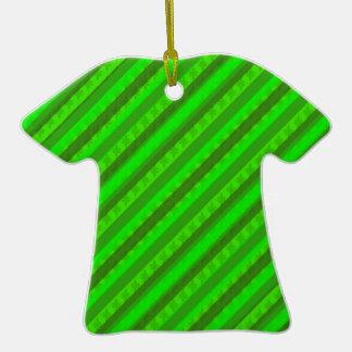 Modelo de encargo verde de Stiped Decoritive del Adorno Navideño De Cerámica En Forma De Playera
