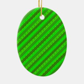 Modelo de encargo verde de Stiped Decoritive del Adorno Navideño Ovalado De Cerámica
