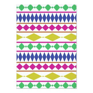 "Modelo de ensayo geométrico femenino colorido invitación 5"" x 7"""