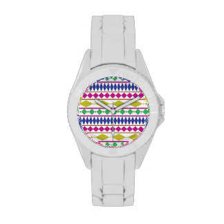 Modelo de ensayo geométrico femenino colorido relojes de pulsera