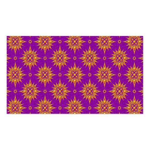 Modelo de estrella amarillo y púrpura tarjetas de visita