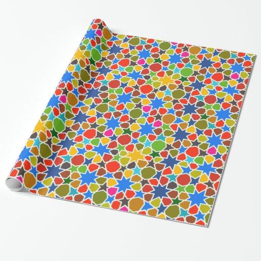 Modelo de estrella árabe colorido papel de regalo