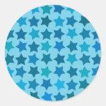 Modelo de estrella azul etiqueta redonda