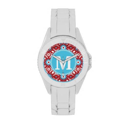 Modelo de estrella azul rojo personalizado del tru relojes de mano