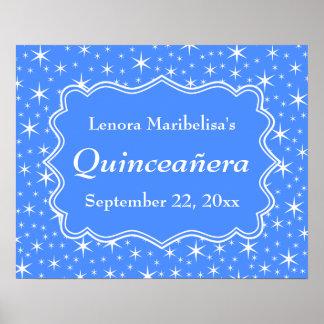 Modelo de estrella azul y blanco Quinceanera Posters