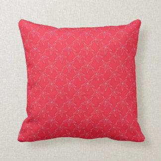 Modelo de estrella blanco en rosa brillante cojín decorativo