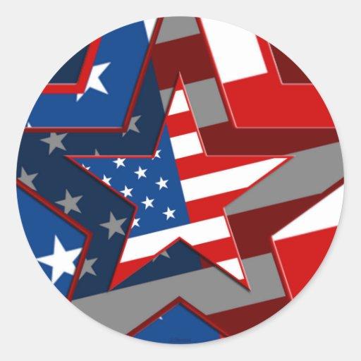 Modelo de estrella de la bandera de Amerrican Etiqueta Redonda