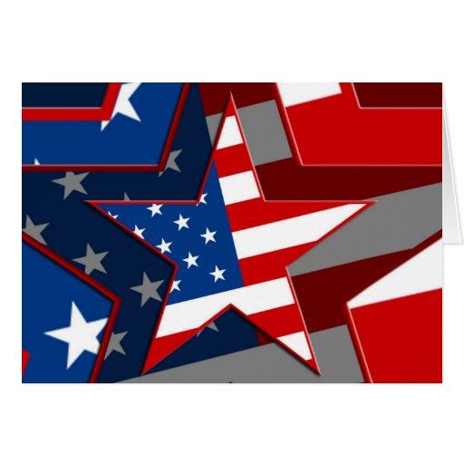 Modelo de estrella de la bandera de Amerrican Tarjeta De Felicitación