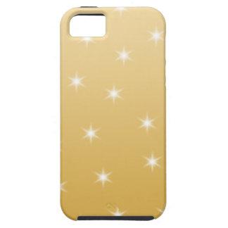 Modelo de estrella del blanco y del color oro iPhone 5 fundas