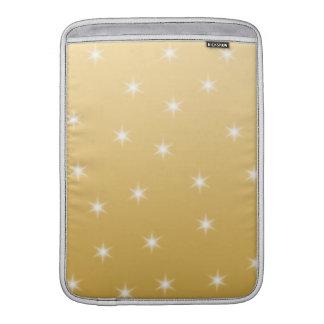 Modelo de estrella del blanco y del color oro fundas para macbook air
