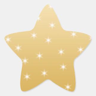 Modelo de estrella del blanco y del color oro pegatina en forma de estrella