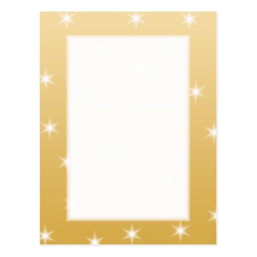 Modelo de estrella del blanco y del color oro postal
