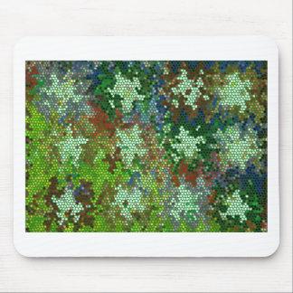 Modelo de estrella del vitral del verde esmeralda mouse pads