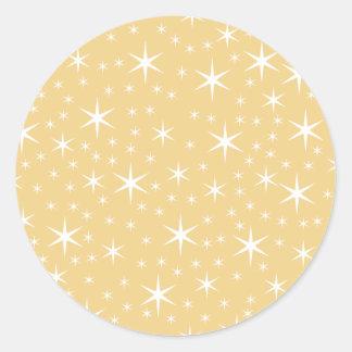 Modelo de estrella en el color blanco y pegatina redonda